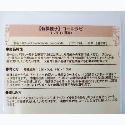 【有機種子】コールラビ/ノリコ/薄緑 【大袋10ml/粒数目安:1095粒】Kohlrabi : Green / Noriko